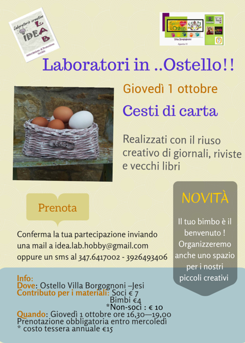 Laboratori in ..Ostello!! cesti