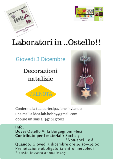 Laboratori in ..Ostello!! decorazioni natale